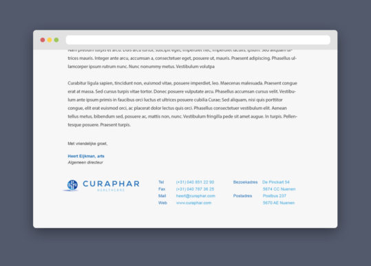 WebRTB project Curaphar Healthcare mail signatures